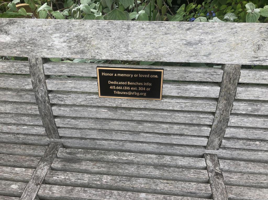 SF arboretum bench tributes